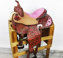 """Barrel racing sadel 15"""" med rosa mockasits"""
