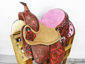 "Barrel racing sadel 15"" med rosa mockasits"